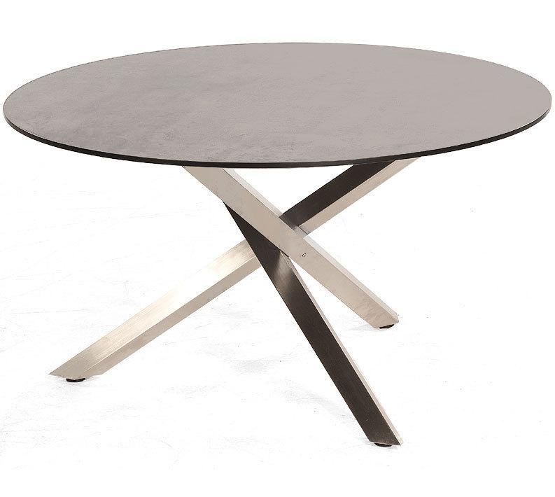 Edelstahl Tischgestell Rund.Sonnenpartner Tisch 134cm Rund Base Compact Edelstahl Hpl Tischplatte Beton Hell 80050421 80050564