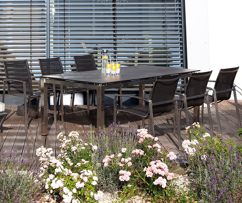 sonnenpartner edelstahltisch base 200x100 tipla compact artjardin. Black Bedroom Furniture Sets. Home Design Ideas