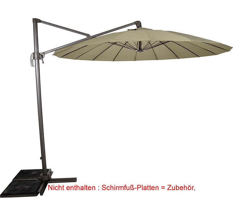 Parasole Ampelschirm Shanghai 300cm Sonnenschirm Taupe   Schirmfuß  OhnePlatten ...