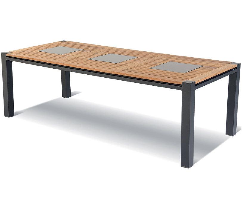 Hartman Esstisch 240x103cm Masterchef 62.445.010 Alu Xerix + FSC Teak Tisch  Platte + 3x Granit Inlay