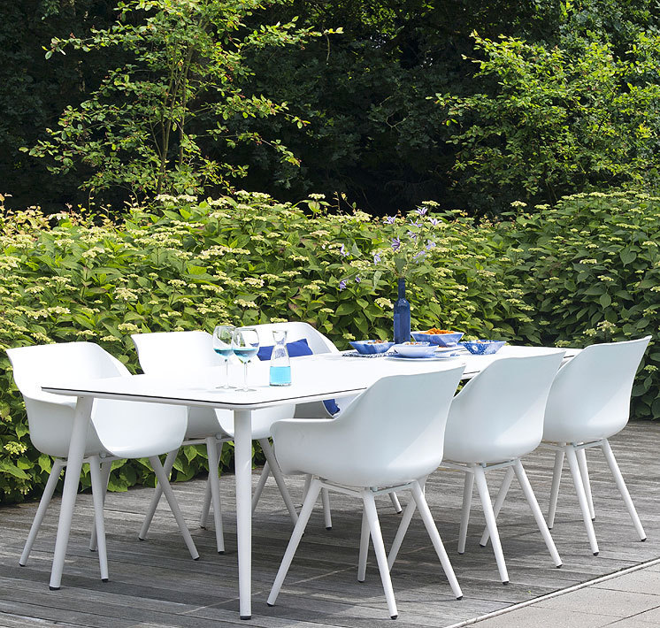 Hartman 7tlgSet Design Essgruppe Sophie Studio weiß =6 Sessel Alu  Polypropylen + HPL Tisch 240x100cm