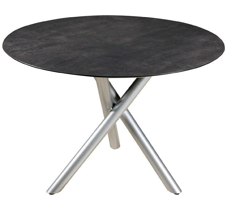 Tisch design rund  Zebra Tisch D1,1m Mikado Esstisch Alu silber Laminat- Art Jardin