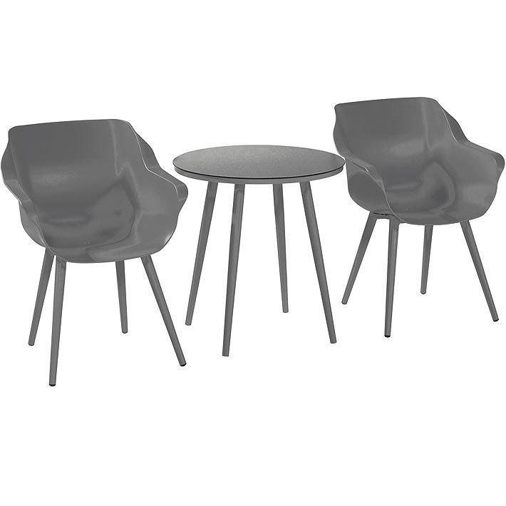 Hartman 3tlg Design Balkonset Sophie Studio Dining Xerix 2 Schalen Sessel Bistro Tisch Rund 66cm