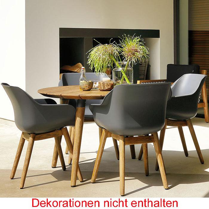 Hartman Design 5tlgSet Sophie Studio Teak Tisch 120cm- Art Jardin