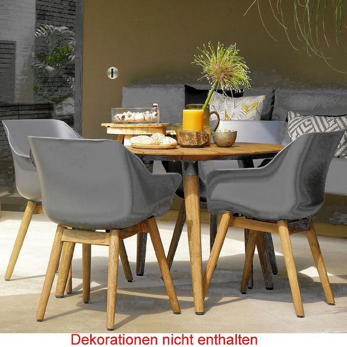 Hartman Design 5tlgSet Sophie Studio Teak =4 Sessel Polypropylen Schale  mist-grey + Tisch rund 120cm