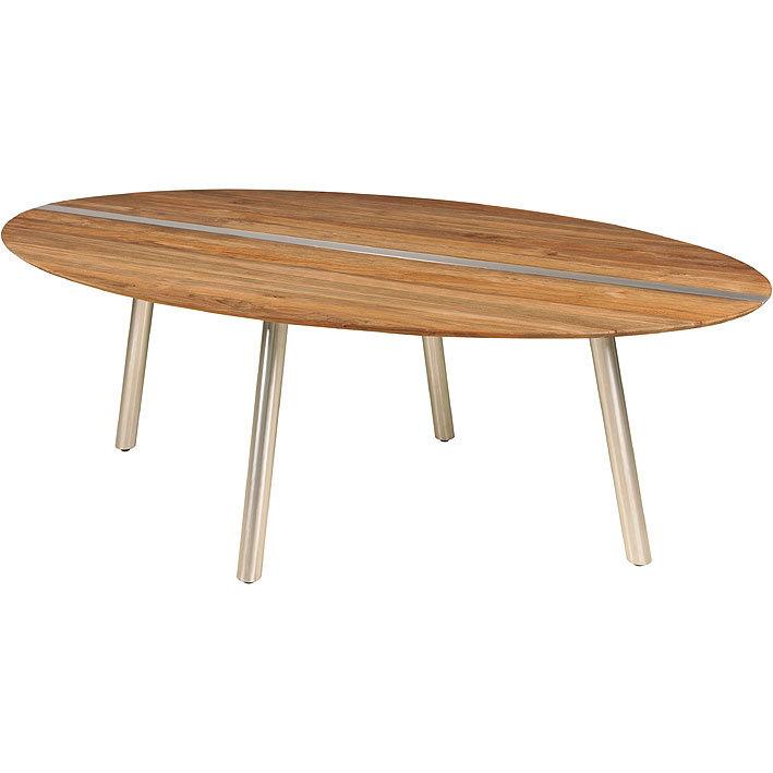 Zebra Tisch oval 220x128cm Trix 7596 Edelstahl + Teak- Art Jardin