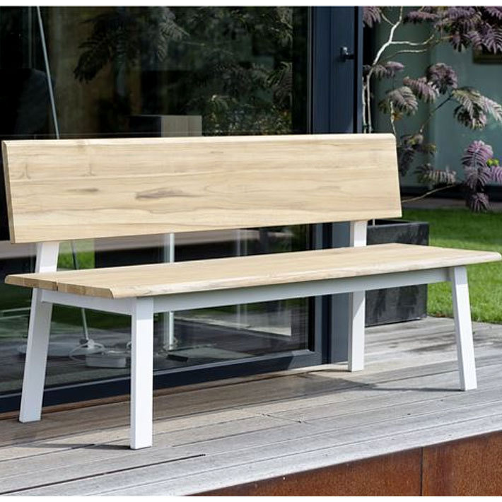 Stern Design 3 Sitzer Bank Sam 418033 Gartenbank Aluminium Weiß + FSC Teak  Holz 160cm ...