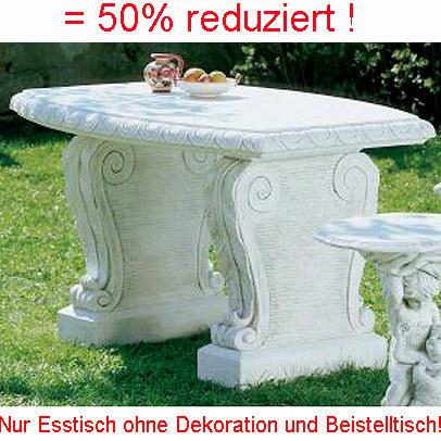 Beton Gartentisch.Trax Beton Werkstein Gartentisch Zement Weiß 137x92cm 3 Teilig Frostfest