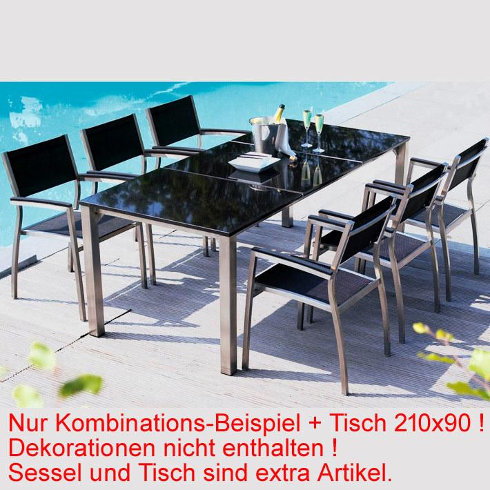 Life 10tlg-Set Bella Edelstahl Textilen black + Tisch- Art Jardin