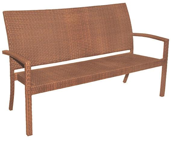 MBM 3 Sitzer Bank Bellini 68.00.0337 Gartenmöbel Aluminium + Polyrattan  Tobacco Gartenbank Stapelbar