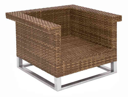 MBM Lounge Sessel Madrigal 68.00.0304 Mirotex tobacco Polyrattan + Alu