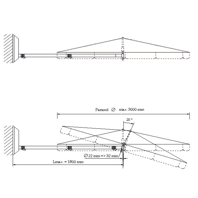 umbrosa paraflex schirmhalter classic standard gelenk art jardin. Black Bedroom Furniture Sets. Home Design Ideas