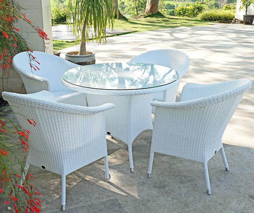 Zebra Tisch Rund 1,1m Hastings Esstisch Alu Polyrattan