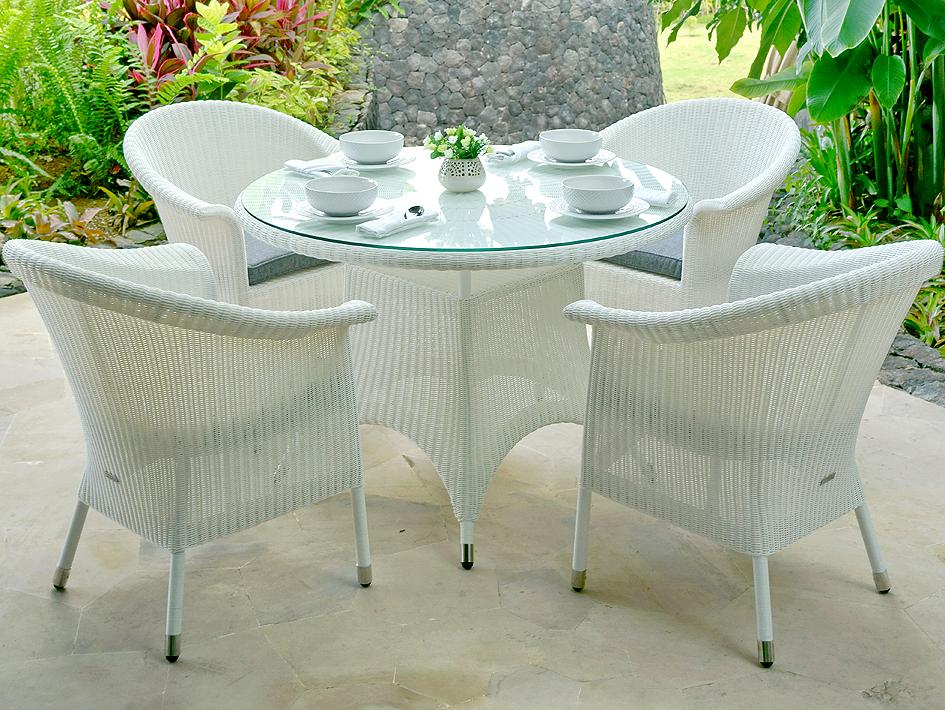 Zebra Tisch Rund 1 1m Hastings Esstisch Alu Polyrattan Artjardin