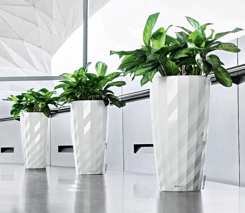 Lechuza Pflanzgefäß Diamante Komplettset schwarz weiß- Art Jardin
