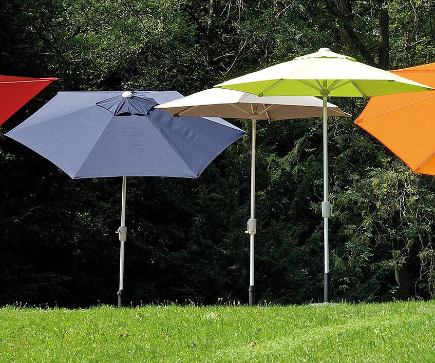 Stern Sonnenschirm D330 8tlg Alu Silb Kurbel Knicker Art Jardin