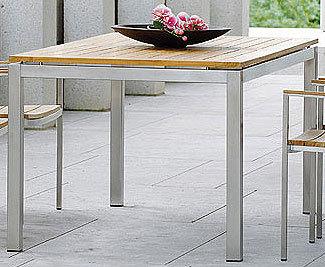 Stern Edelstahl Fsc Teak Tisch System 80x80cm 101536 100205 Esstisch