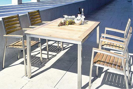 stern edelstahl teak tisch system 80x80cm 101536 100205 esstisch gartentisch design art jardin. Black Bedroom Furniture Sets. Home Design Ideas