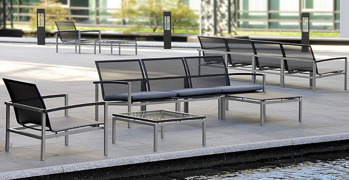 Stern Lounge Sessel Lazy 419166 Alu Textilene Schwarz Art Jardin