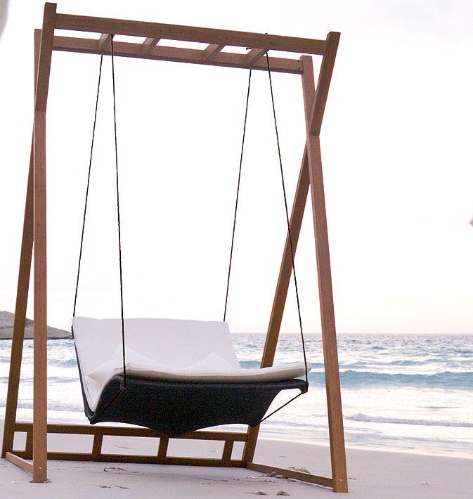 MBM Alu Liegen Gestell Heaven Swing bamboo schwarz- Art Jardin
