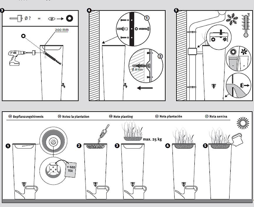 graf regenspeicher color 2in1 pflanzschale 350l 6farb art jardin. Black Bedroom Furniture Sets. Home Design Ideas