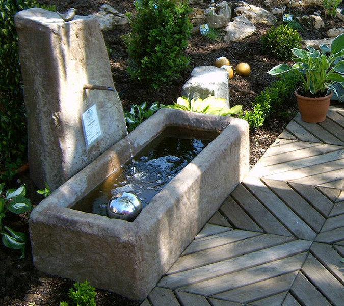 Felsdekor Garten Brunnen Felsentränke 04201 sand Trog- Art Jardin