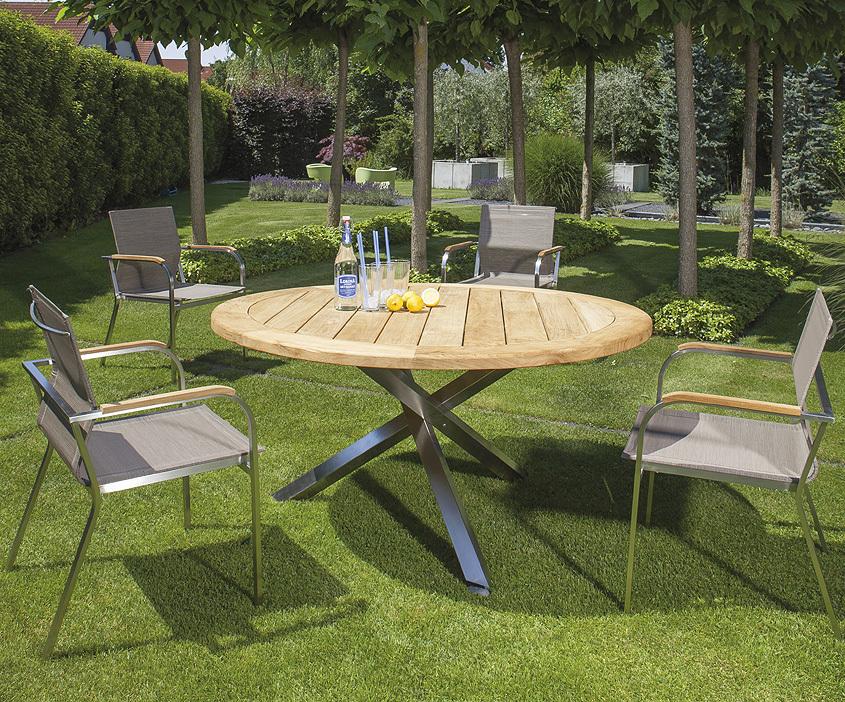 sonnenpartner tisch rund spectra edelstahl old teak art jardin. Black Bedroom Furniture Sets. Home Design Ideas