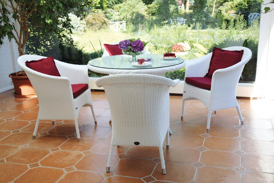 Zebra Tisch Rund 90 Mary Esstisch Alu Polyrattan Glas Art Jardin