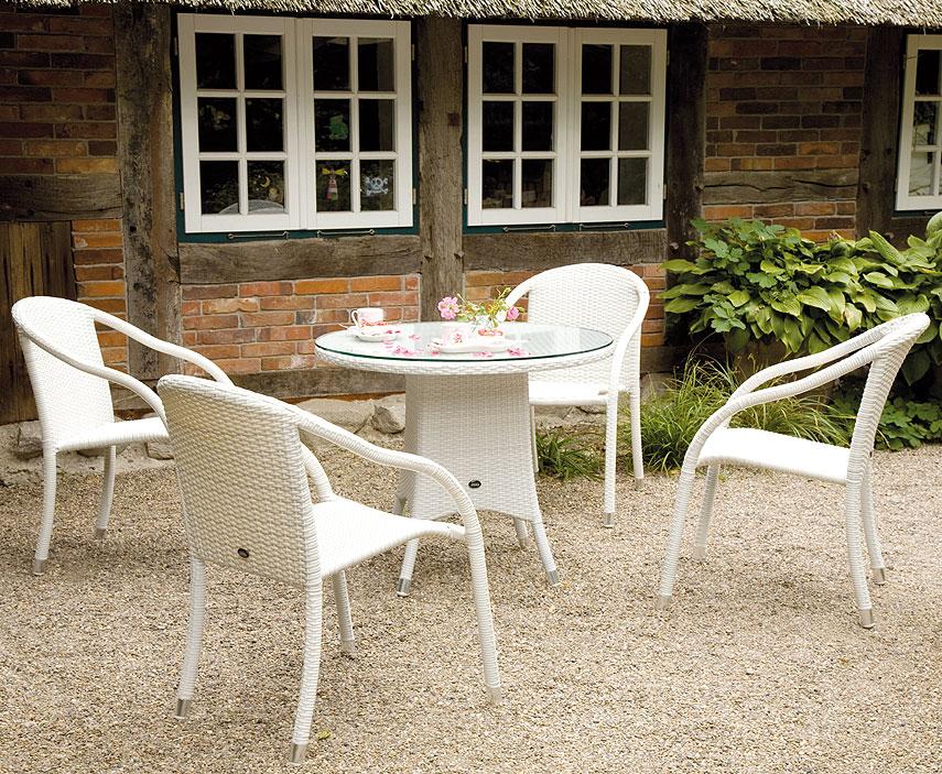 Zebra Tisch rund 90 Mary Esstisch Alu Polyrattan Glas- Art Jardin