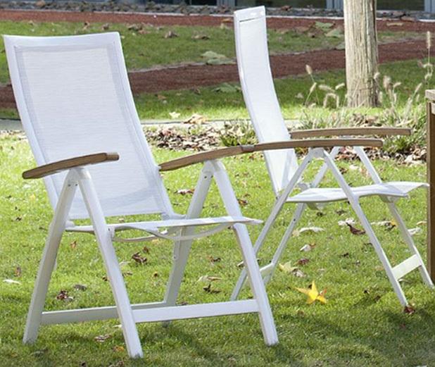 ... Queen´s Garden Klapp Sessel Amazonas Alu Weiß 721248 Hochlehner  Gartenstuhl ...