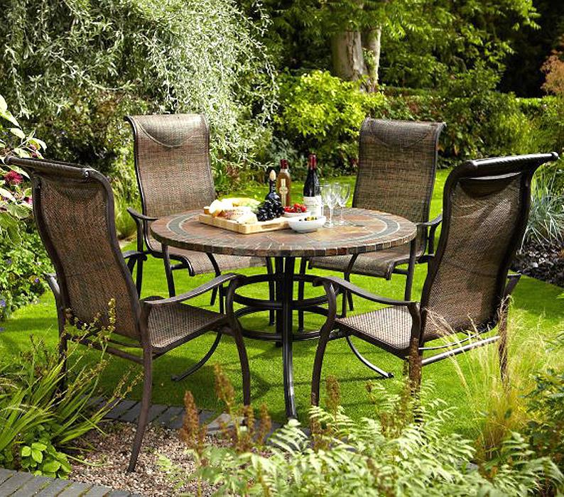Fesselnd Hartman 6tlg Set Gartenmöbel Palermo Mosaik Esstisch 120rund + 4 Sessel  Aluguß Bronze Textile Kupfer ...