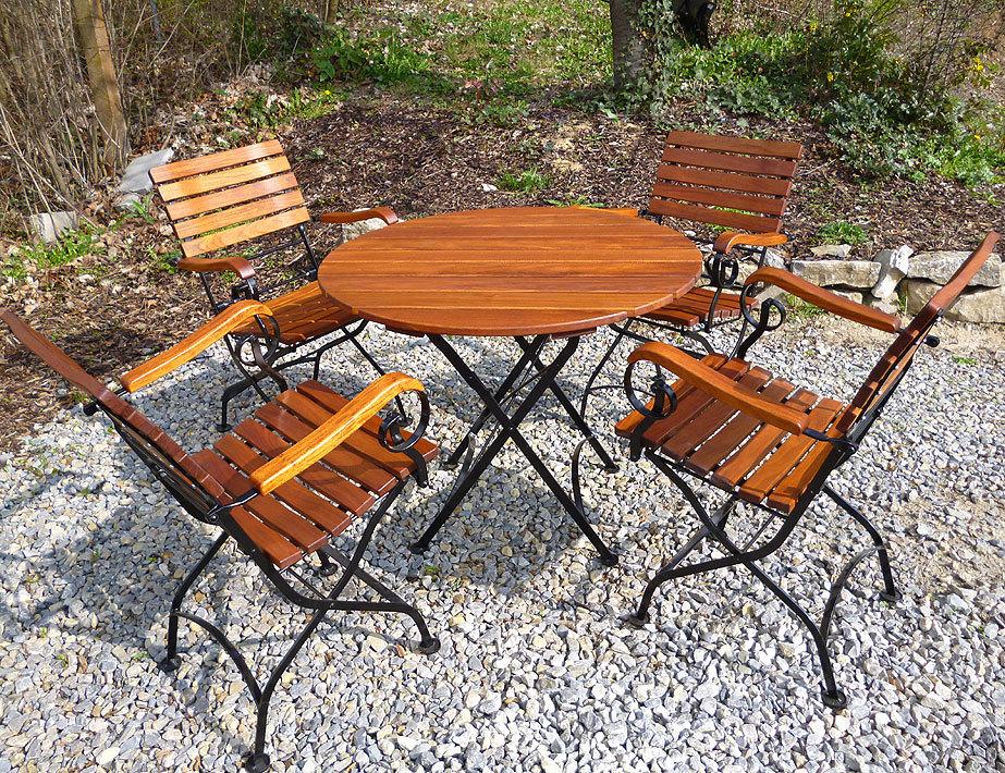 AWO Gartenmöbel Set Lord 5tlg Sessel + Tisch 100 rund- Art Jardin