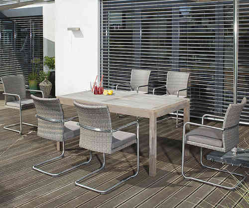 Sunny Smart 9tlgSet Esstisch Wellington + Scala Sessel 4x+Kissen