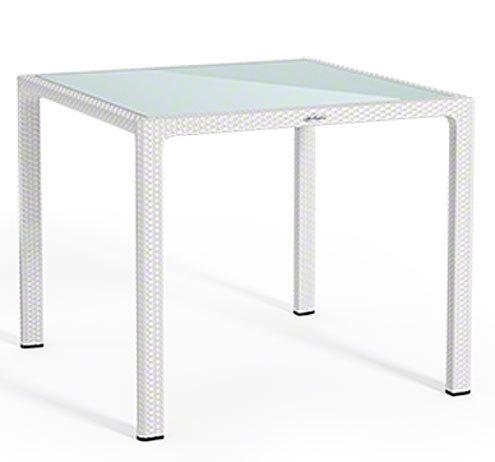 Polyrattan Tisch 90x90.Lechuza Design Garten Möbel Esstisch Garnitur 5tlg Cottage Weiß 4 Sessel Tisch 90x90 Glasplatte