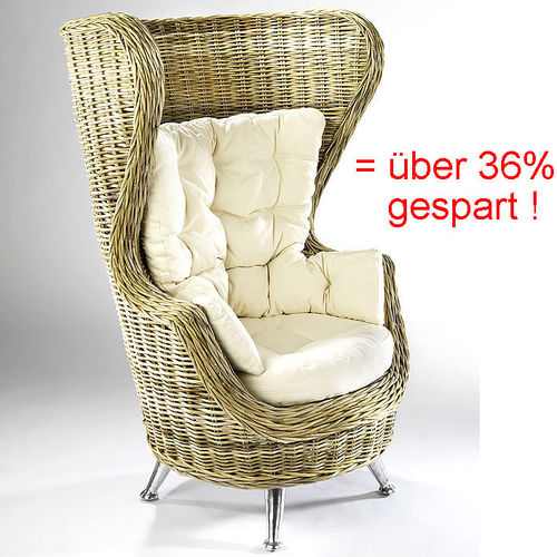 Home Rattan Ohrensessel King Chair XL 2008423 + Kissen + Hocker =4-tlg.