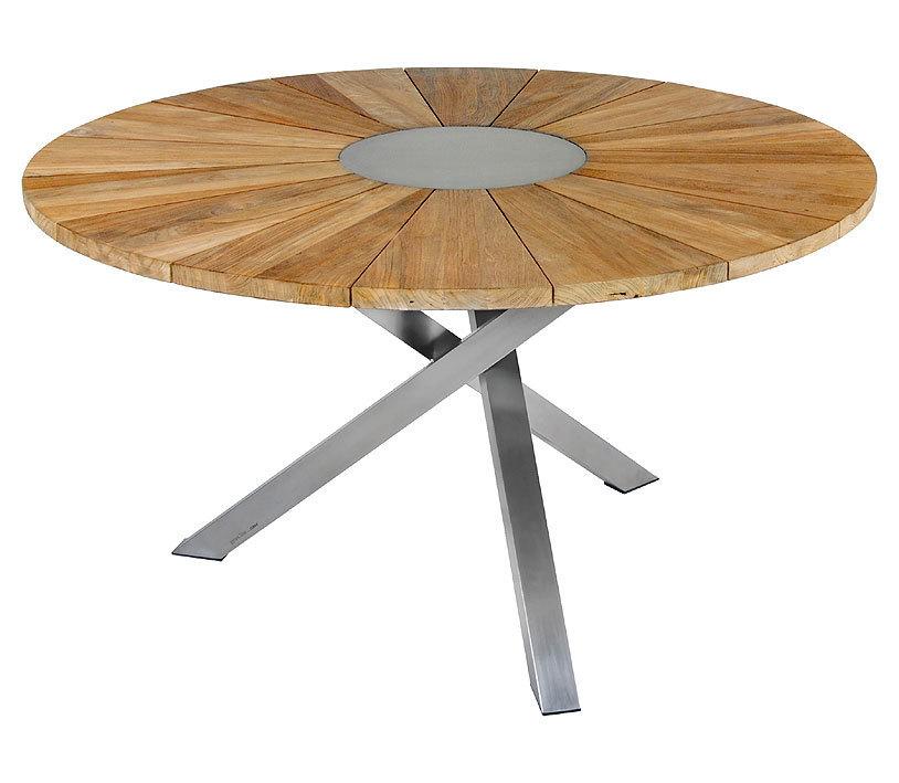 Gartentisch rund  Zebra Tisch rund 135cm Oryx Teak 7218 Edelstahl Holz - Art Jardin
