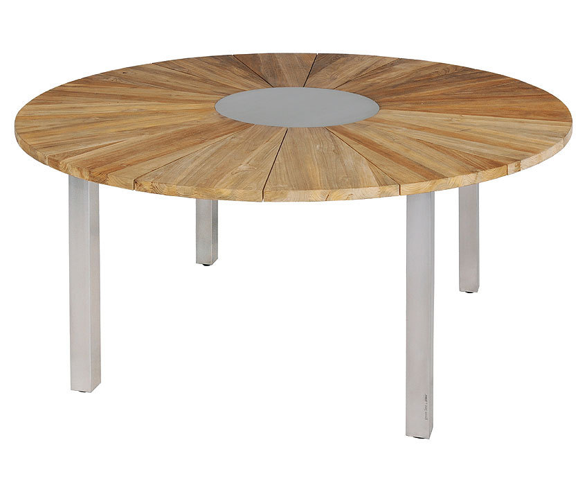 zebra tisch rund 160cm onyx 7226 old teak edelstahl art jardin. Black Bedroom Furniture Sets. Home Design Ideas