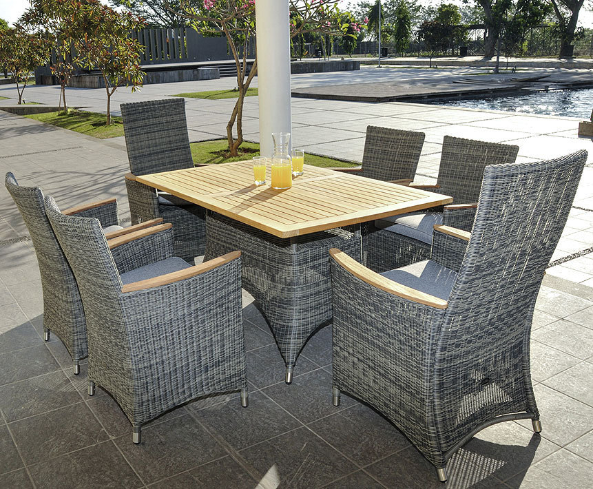 ... Zebra Tisch 140x90cm Status 23086 Alu +Teak Tischplatte + Polyrattan  Grey Black Gartenmöbel Esstisch ...