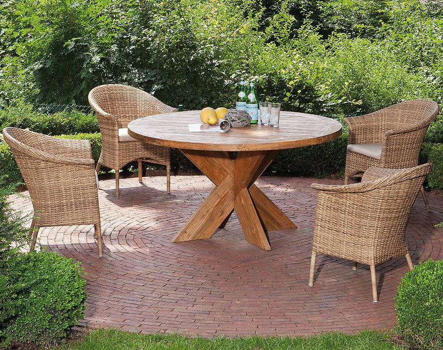 ... Sonnenpartner Old Teak Holz Tisch Rund 90cm Quantum 80050747 Esstisch  Massivholz Gartentisch