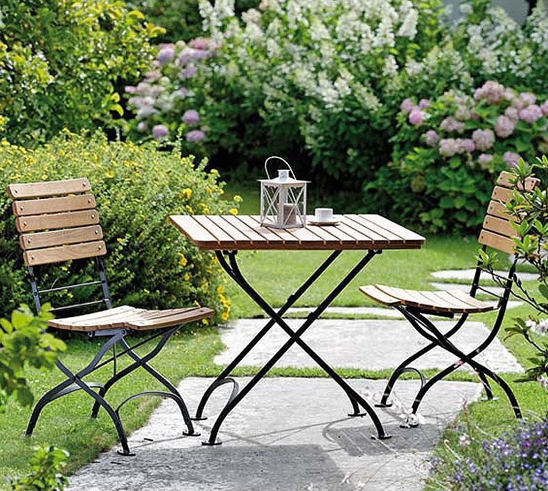 Stern Balkonset 3tlg Klappstuhl Tisch 80x80 Camargue - Art Jardin