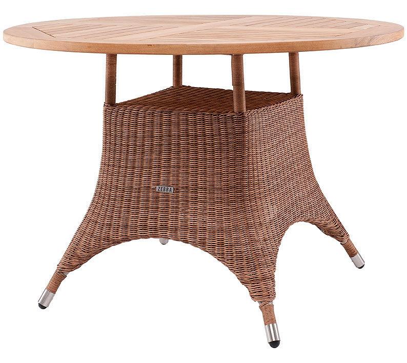 Zebra Tisch Rund 110cm Savannah 23110 Alu +Teak Tischplatte + Polyrattan  Cognac Gartenmöbel Esstisch ...