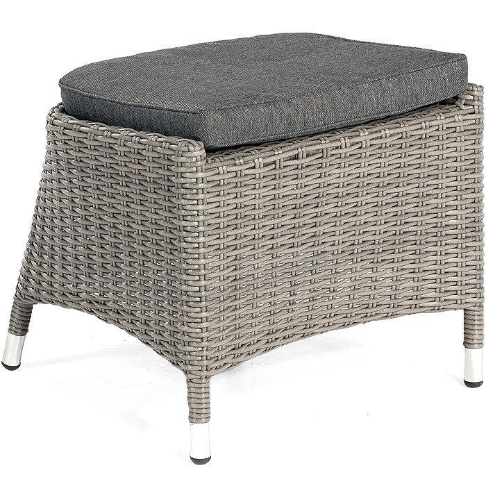 Sunny Smart Fuß-+ Sitz Hocker Para 80050127 Alu + Polyrattan granit-grau +  Sitz- Kissen Polster grau
