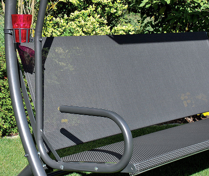 ... Sungörl Hollywood Schaukel Royal Style 421000 Polster Grau Gestell  Verzinkt+Dach ...