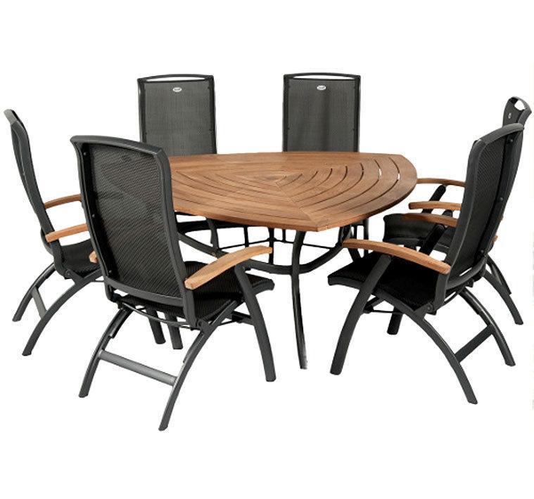 hartman 7tlg triangular tisch gruppe da vinci alu teak artjardin. Black Bedroom Furniture Sets. Home Design Ideas