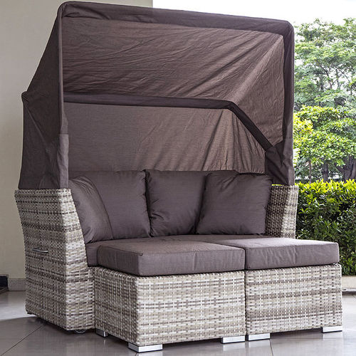 Zebra Jack Lounge Junior Basis Set 5800 Polyrattan whitecream + Sonnendach 5801 brown + Bezüge brown