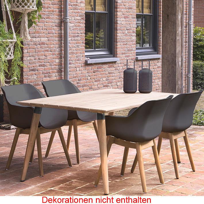 Hartman Design 5tlgSet Sophie Studio Teak Tisch 170cm- Art Jardin