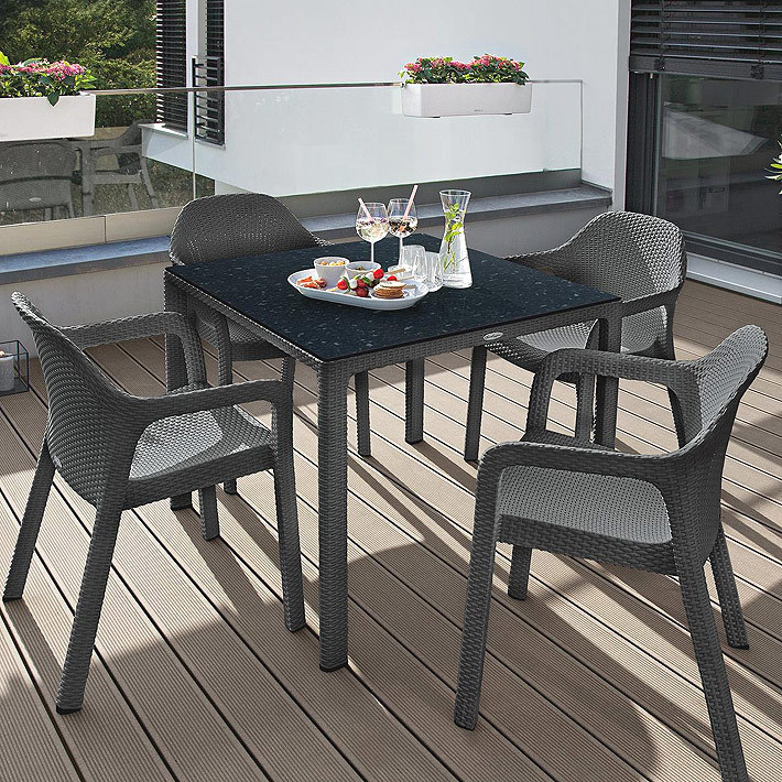 Lechuza Design Garten Möbel Essplatz Garnitur Cottage granit = 4x Sessel +  Tisch 90x90 + HPL-Platte
