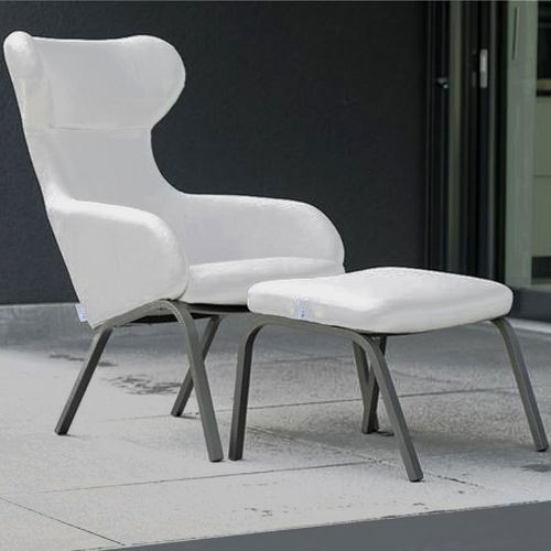 Stern 2-tlg Lounge Set Stan Ohren Sessel 418372 + Fuß Hocker 418373 Alu anthrazit + Softtex silber